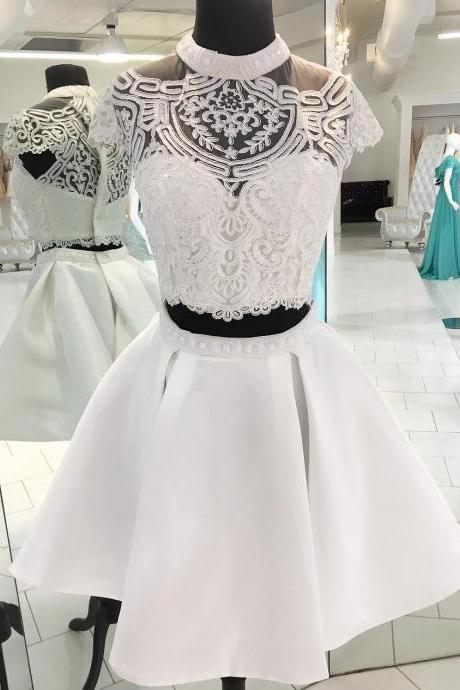 Beads Homecoming Dresses, Two Piece Homecoming Dress Prom Dress 2018