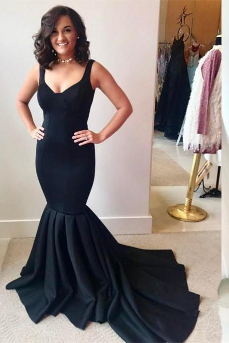 2018 Gorgeous Mermaid Black Evening Dress,Straps Pleated Prom Dress with Train