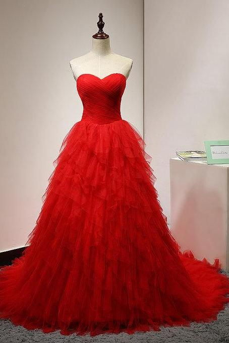 Red Ruched Sweetheart Floor Length Ruffled Tulle Formal Gown, Prom Gown