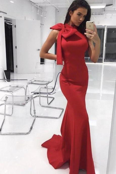 Gorgeous Mermaid Red Long Prom Dress With Bow