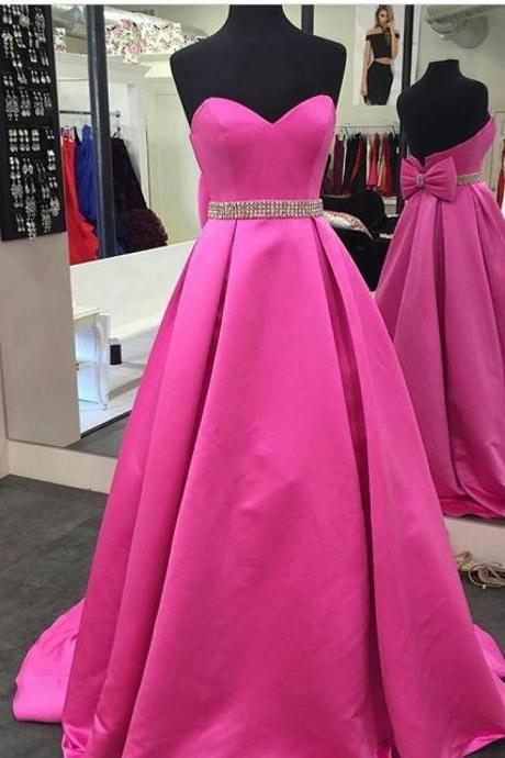 pink prom dresses,satin ball gowns,prom dresses 2017,formal evening gowns,women's party dress
