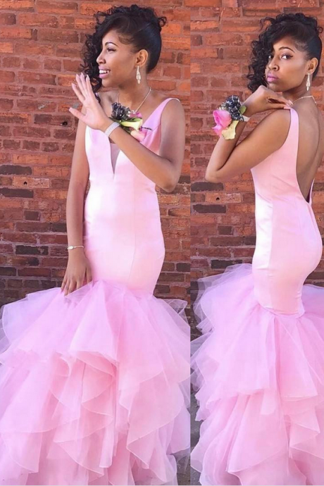 Sexy Gorgeous Mermaid Pink Long Prom Dress