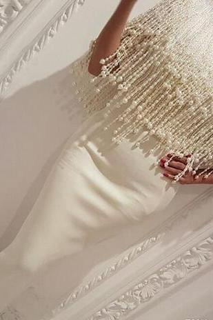 Beading Pearls Dresses Evening Wear Yousef Aljasmi Mermaid Long Formal Gowns 2018 White Prom Dress