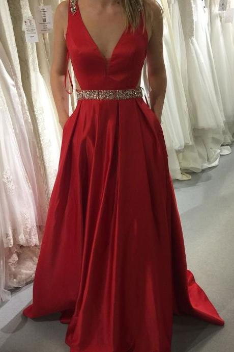 Red A-line V-neck Satin Prom Dresses,Long Beaded Prom Dress with Pockets,A Line Long Red Satin Prom Dress,