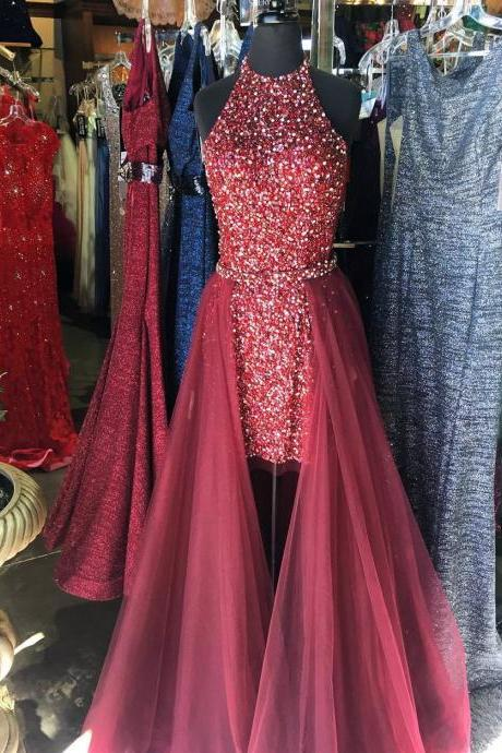 two piece prom dress short,crystal beaded homecoming dress,short prom dresses 2017