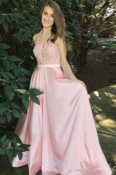 Pink A-Line/Princess V-Neck Sleeveless Floor-Length Lace Satin Prom Dresses