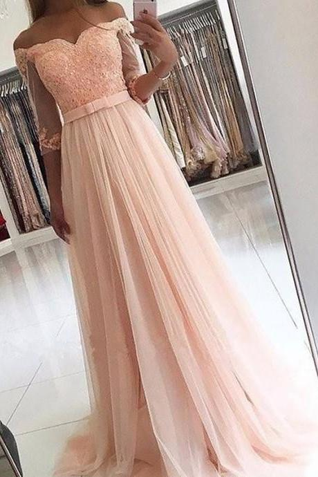 3/4 Sleeves Off-the-Shoulder Tulle Sash/Ribbon/Belt Sweep/Brush Train Prom Dresses