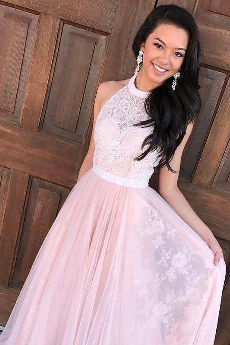 Pink A-Line/Princess Sleeveless Halter Tulle Lace Sweep/Brush Train Prom Dresses