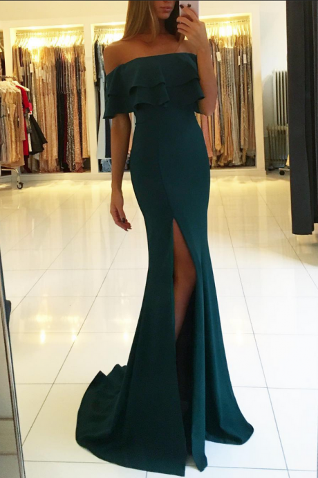 Green Chiffon Ruffled Off-The-Shoulder Floor Length Trumpet Formal Dress Featuring Slit and Sweep Train