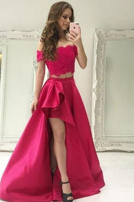 Sexy Red Appliques Prom Dresses, Long Evening Dress