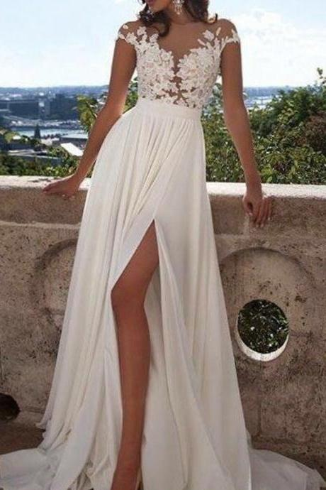 Princess Short Sleeves Scoop Floor-Length Applique Chiffon Wedding Dresses