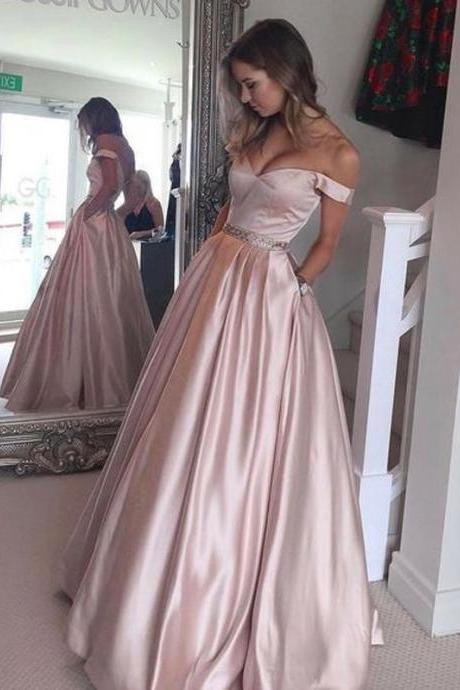 /Princess Off-the-Shoulder Sleeveless Sweep/Brush Train Satin Prom Dresses