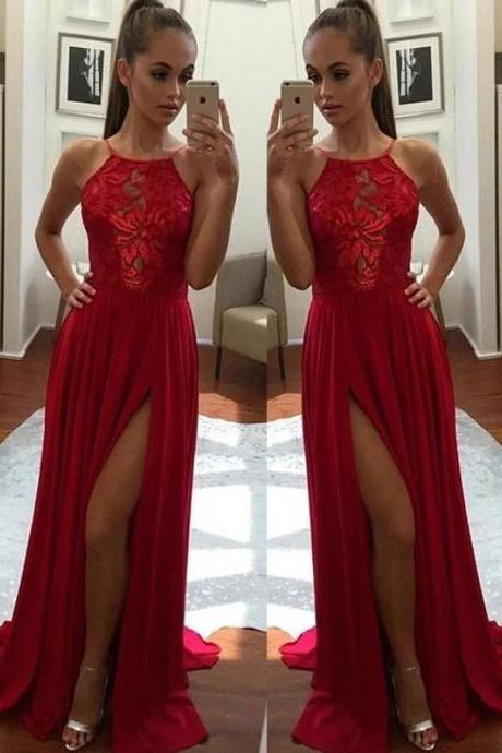 Princess Sleeveless Halter Chiffon Applique Sweep/Brush Train Prom Dresses