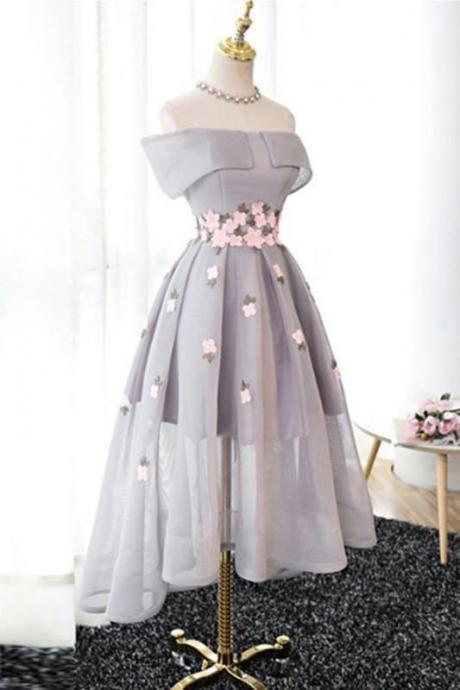Gray prom dress, off shoulder prom dress,A-line tulle prom gown,flower homecoming gowns