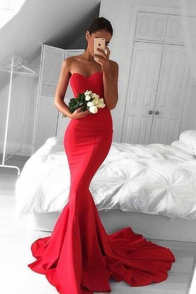 Red Sweetheart Prom Dress,Mermaid Prom Dress,Long Formal Dress With Sweep Train