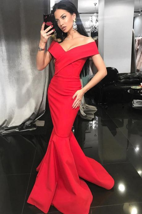 Mermaid Formal Evening Gown Red Off The Shoulder Long Prom Dress