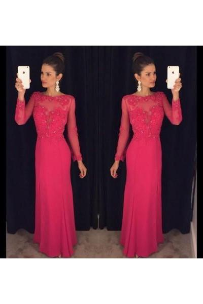 Prom dress Formal dress Long Sleeve Red O Neck Floor Length Chiffon Sheath Column Prom Dress