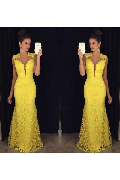 Prom dress Formal dress Yellow Illusion Sweep Train Lace Trumpet Mermaid Prom Dress