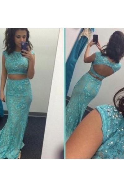 Prom Dress Formal Dress Two Piece Blue Bateau Neck Court Train Lace Crop Tops Trumpet Mermaid Prom Evening Dress