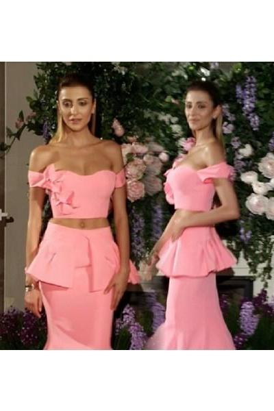 Prom Dress Formal Dress Two Piece Pink Off The Shoulder Bowknot Trumpet Mermaid Prom Dress