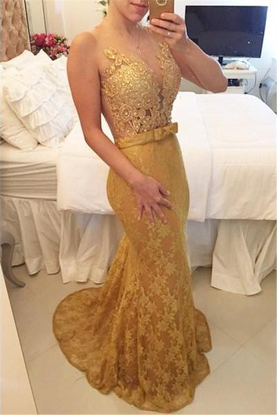 Prom Dress Formal Dress Gold Illusion Brush Train Lace Trumpet Mermaid Prom Evening Dress