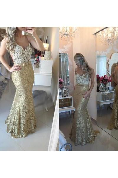 Formal Dress Prom Dress Gold Illusion Floor Length Lace Trumpet Mermaid Bling Prom Evening Dress
