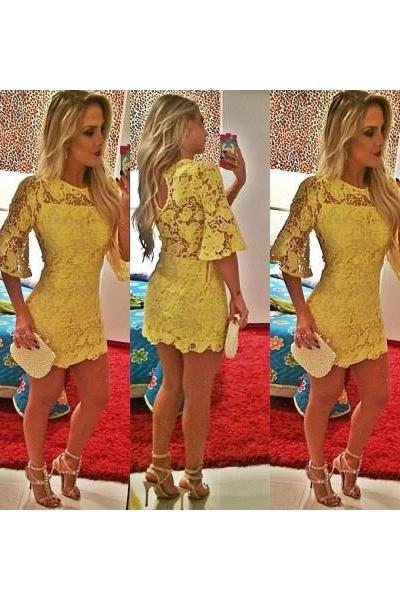 Formal Dress Prom Dress Yellow O Neck Mini Lace Sheath Column Homecoming Cocktail Dress