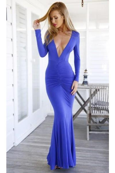 Formal Dress Prom Dress Royal Blue V Neck Floor Length Spandex Sheath Column Prom Evening Dress