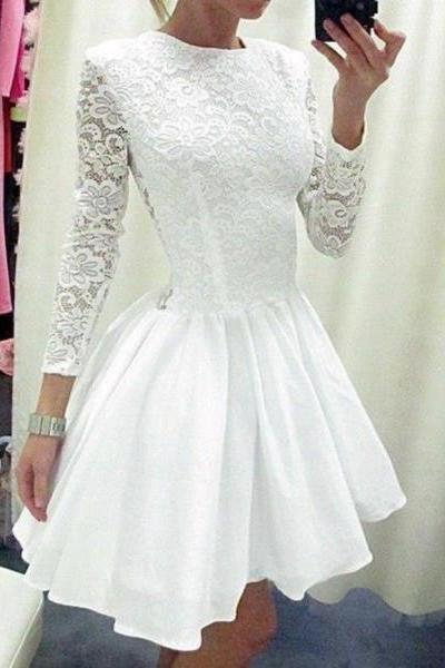 Formal Dresses Prom Dresses White O Neck Short Lace A Line Homecoming Cocktail Dress