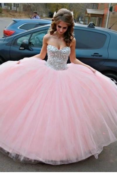 Formal Dresses Prom Dresses Pink Sweetheart Floor Length Tulle Ball Gown Bling Prom Evening Dress