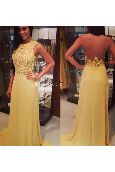 Formal Dresses Prom Dresses Yellow O Neck Floor Length Chiffon Sheath Column Prom Evening Dress