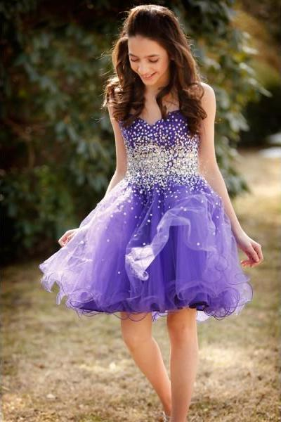 Formal Dresses Prom Dresses Purple Sweetheart Short Tulle A Line Homecoming Cocktail Dress