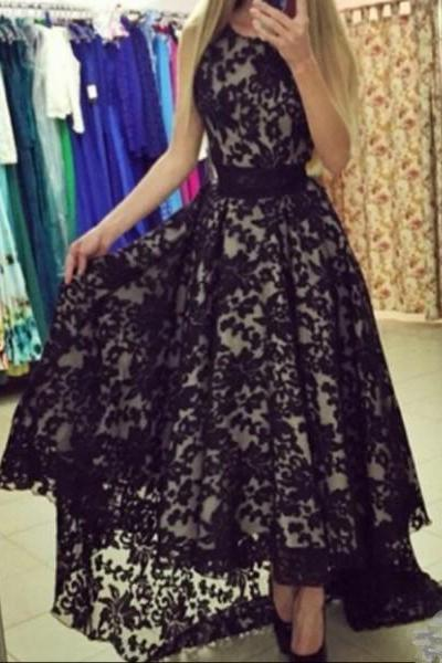 Formal Dresses Prom Dresses Black O Neck High Low Lace A Line Prom Evening Dress