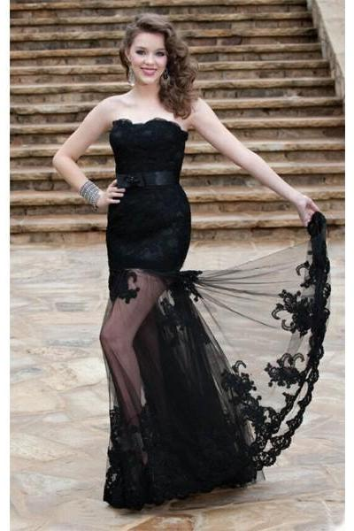 Formal Dresses Prom Dresses Black Sweetheart Floor Length Tulle Trumpet Mermaid Prom Evening Dress