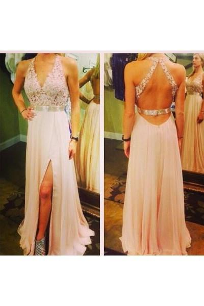 Formal Dresses Prom Dresses Ivory V Neck Floor Length Chiffon A Line Prom Evening Dress