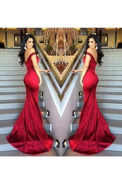Formal Dresses Prom Dresses Graceful Red V Neck Long Satin Trumpet Mermaid Prom Evening Dress