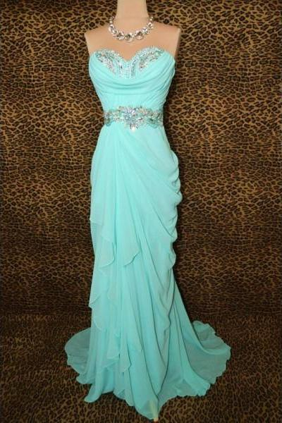Formal Dresses Prom Dresses Elegant Mint Sweetheart Long Chiffon Trumpet Mermaid Prom Evening Dress