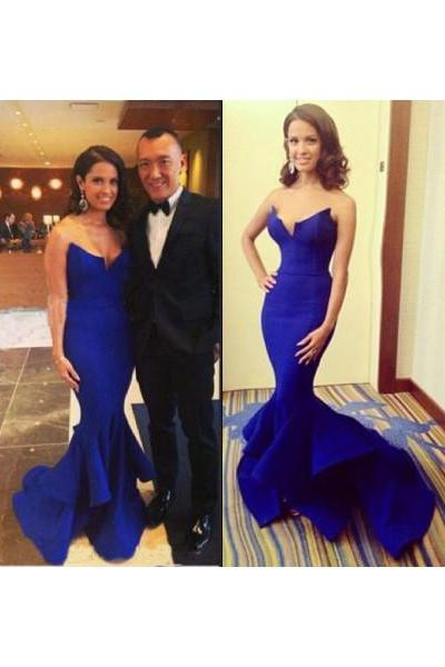 Formal Dresses Prom Dresses Royal Blue Sweetheart Brush Train Satin Trumpet Mermaid Prom Evening Dress