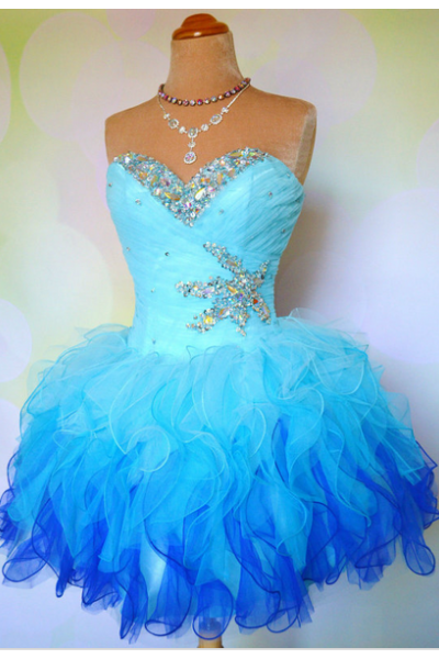 Prom Dress Formal Dress Puffy Blue Sweetheart Short Organza Homecoming Cocktail Dress