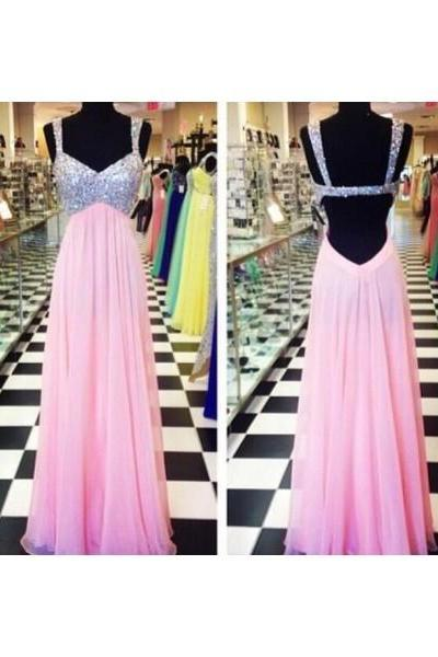 Free Shipping Prom Dress Formal Dress Backless Pink Straps Long Chiffon Prom Evening Dress