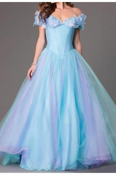 Free Shipping Formal Dress Prom Dress Blue Off The Shoulder Tulle Ball Gown Princess Cinderella Dress