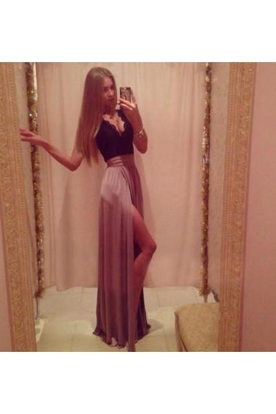 Free Shipping Formal Dress Prom Dress High Slit Long Black V Neck A Line Prom Dress