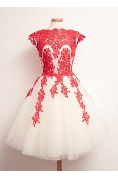Free Shipping Formal Dress Prom Dress Lace Short Red Keyhole A Line Prom Dress