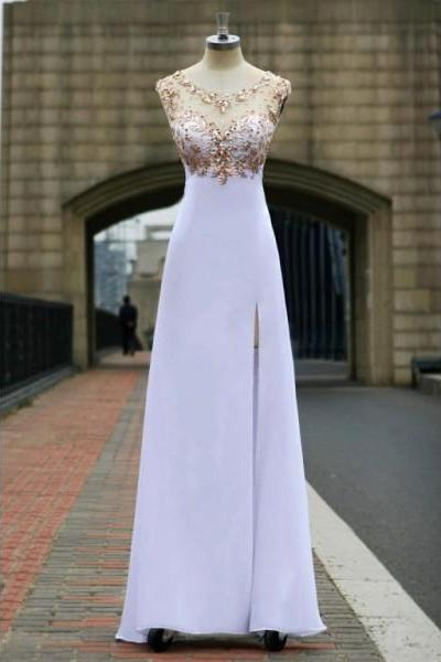 Free Shipping Formal Dress Prom Dress High Slit Long White Illusion A Line Prom Dress