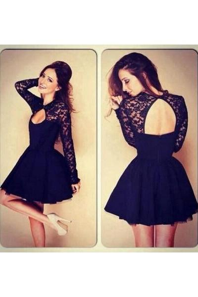 Free Shipping Formal Dress Prom Dress Open Back Short Black Keyhole A Line Prom Dress