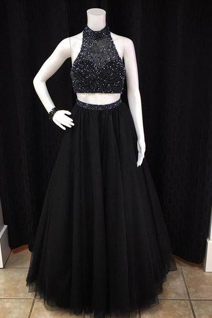 Formal Dresses Prom Dress 2016 Black Sheer High Neck Halter Two Piece Prom Dress With Beaded Top