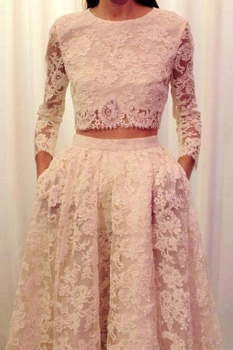 Formal Dresses Prom Dress Fashion Two Piece Prom Dresses Long Sleeves Lace 2 Piece Prom Dress Beige Evening Dress With Pockets Women Pageant Gown Formal Party Dress