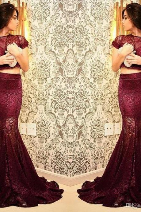 Burgundy Maroon Scarlet Formal Dress Prom Dress Crew Newck Full Lace Mother Evening Gowns For Women Cap Sleeves