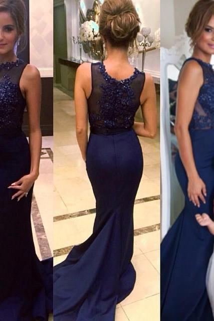 2016 formal dresses Mermaid Sleevesless Prom Dresses Appliques Court Train Evening Gowns with Beadings