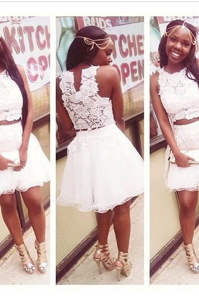 Lovely White Lace Short Homecoming Dress Two Pieces Appliques Tulle Slveless Prom Dress